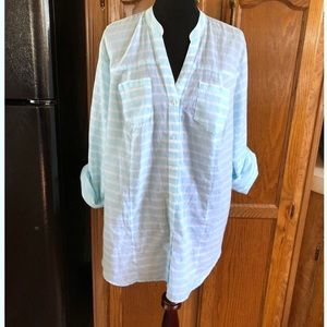 Lane Bryant Turquoise Striped Top Size 18/20